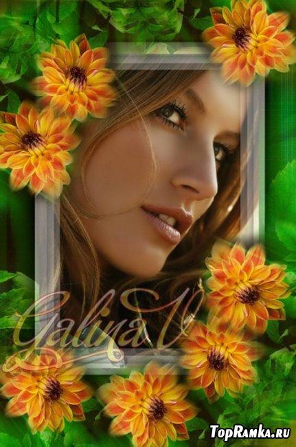 Рамка для фото - Оранжевые цветы