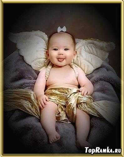 Детский шаблон для фотошоп - Ангелочек на отдыхе