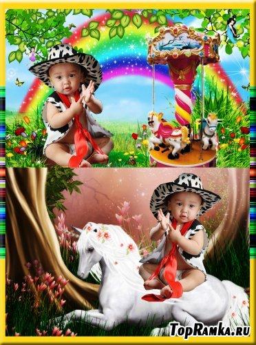 Детский шаблон для фотошоп - Большой ковбой