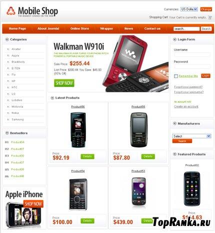 VirtueMart Template (Mobile Shop) + PSD