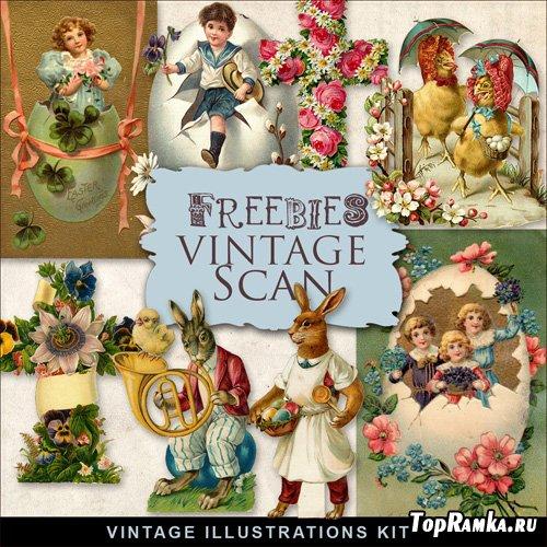 Scrap-kit - Vintage Easter Cards #2