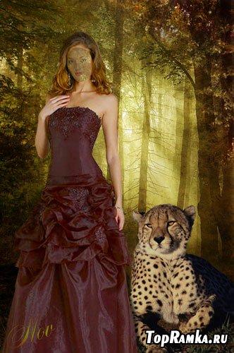 Шаблон для фотошоп - В лесу