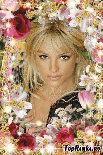 Рамка для фото с символом весны - лилиями и розами