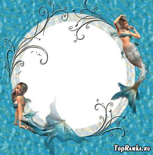 Морская рамка с русалками