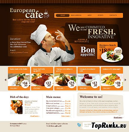 Free European Cafe Website Template