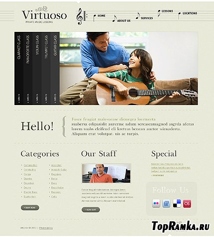 Virtuoso Music Website Free Template