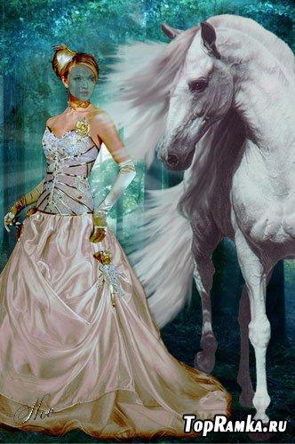 Шаблон для фотошоп -  С белой лошадкой
