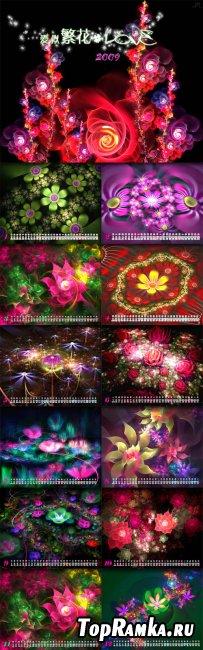 Love like flowers in stunning calendar template