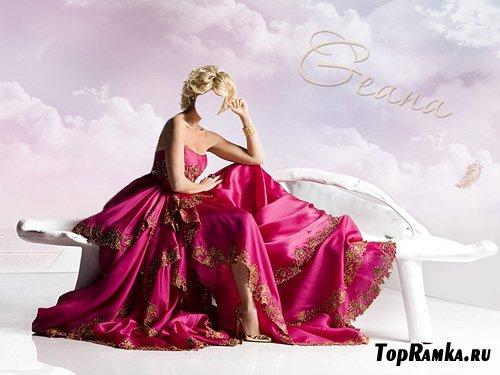 Шаблон для Photoshop - В розовом платье