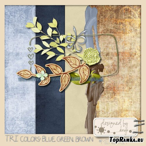 Scrap-set - TRI Colors Blue, green, brown
