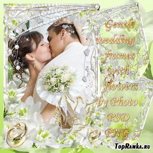 Свадебная рамка для фото с нежными цветами