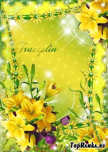 Оригинальная рамка для Photoshop – Солнечные лилии