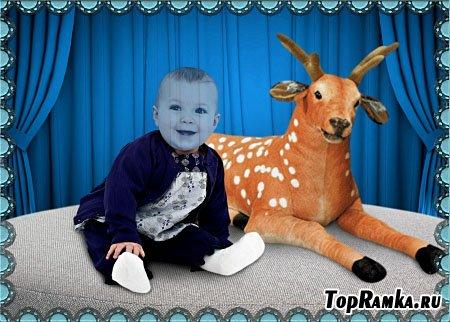 Детский шаблон для фотошопа - Ребёнок и олень