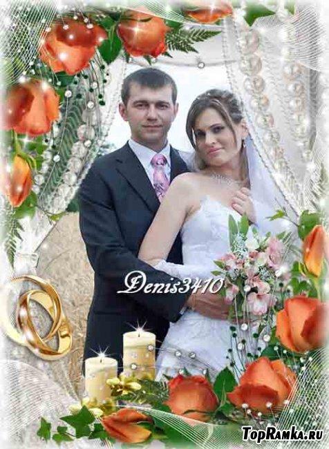 Свадебная рамка для фото - Две свечи и розы