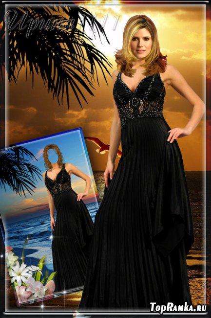 Женский шаблон для Photoshop - На закате у моря