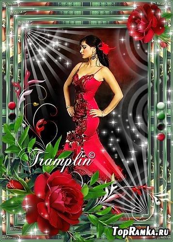 Рамка  для фото с красной розой - Чаровница