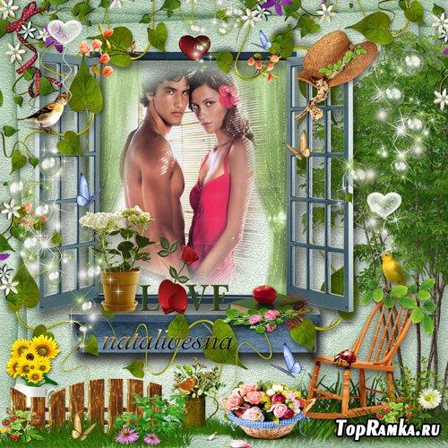 Рамка для Photoshop –  Райский сад для двоих