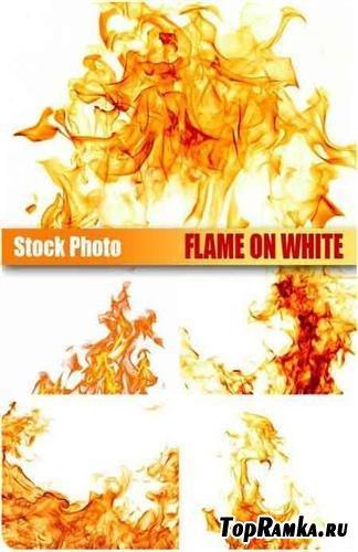 Огонь на белом фоне