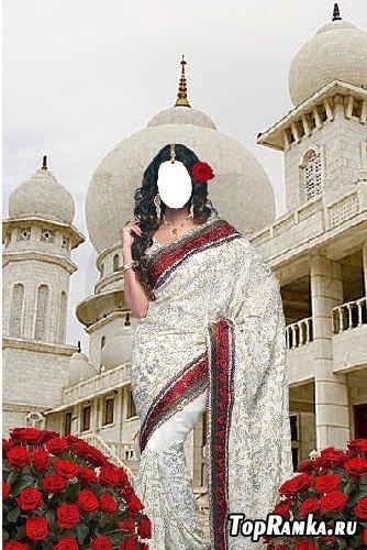 Шаблон Индианка возле белого дворца