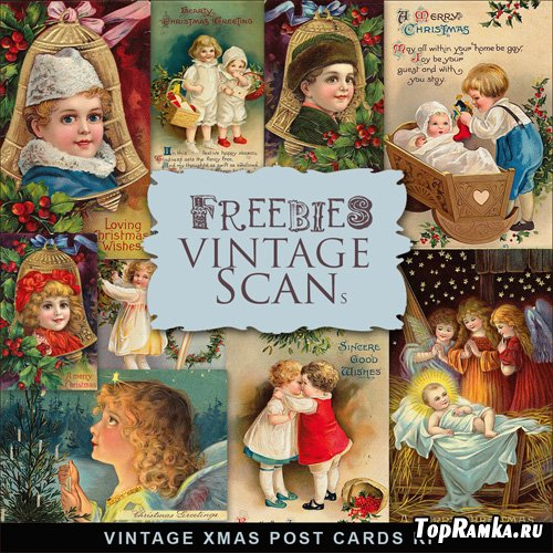 Scrap-kit - Vintage X-mas Postcards #2