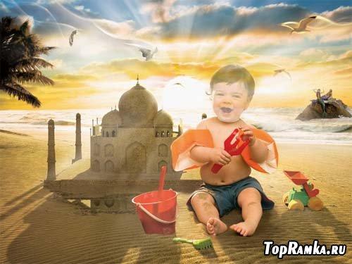 Детский шаблон - малыш строит замок