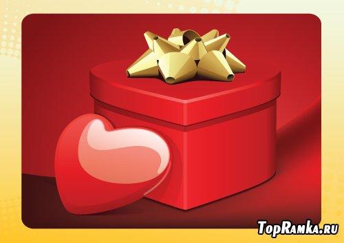 Коробка с валентинкой в векторе
