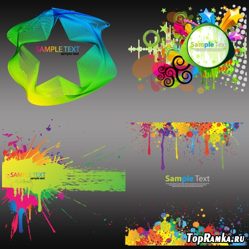 Фоны с Цветными красками (Вектор)