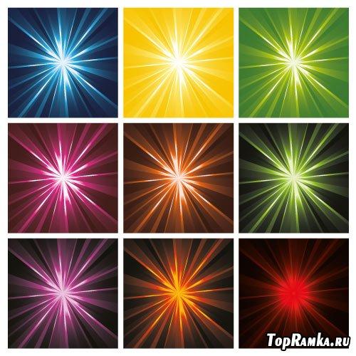 Цветные лучистые фоны в векторе