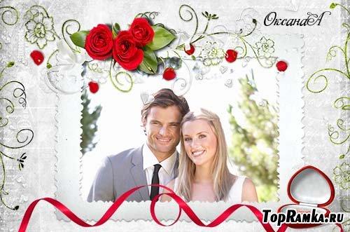 Свадебная фоторамка – Три красных розы и шкатулка с драгоценностями