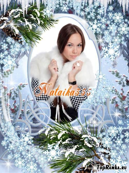 Рамка для фотошоп - Кругом тебя снежинок кутерьма