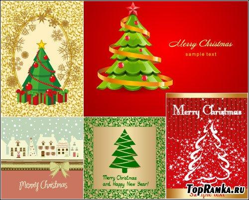 Новогодние фоны с елками в векторе
