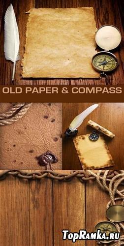 Старый компас перо и бумага - фоны (HQ)