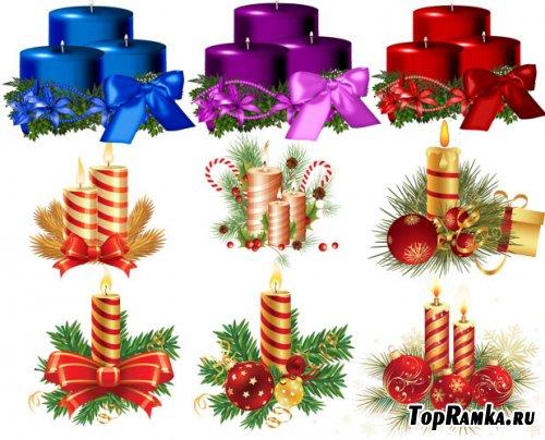 Клипарт для фотошопа - Новогодние свечи в векторе