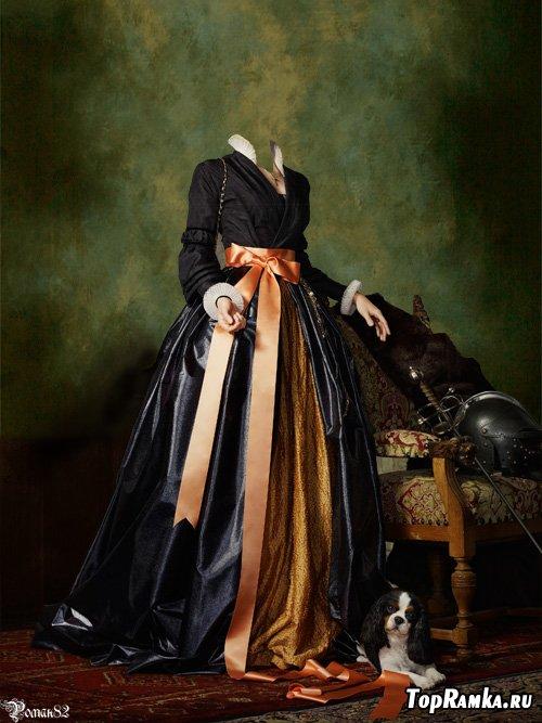 Шаблон для фотомонтажа - дама с собачкой