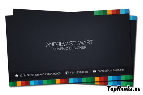 Business card template - dark theme