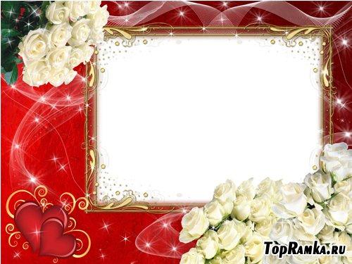 Фоторамка - Букет белых роз для любимой