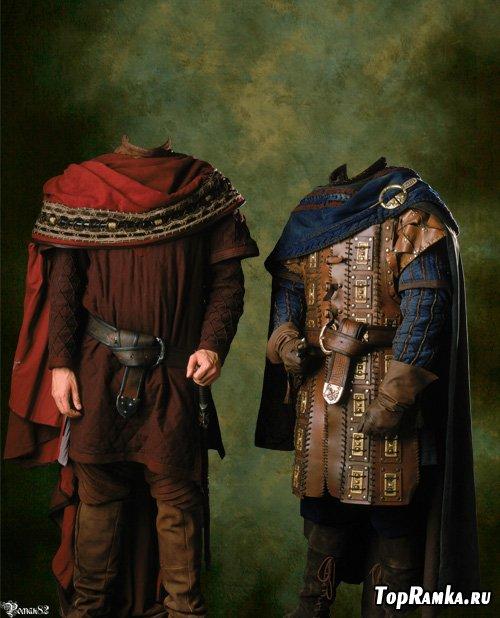 Шаблон для фотомонтажа - 2 старинных костюма