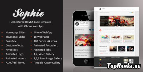 ThemeForest - Sophie | HTML5 & CSS3 With iPhone WebApp - Rip