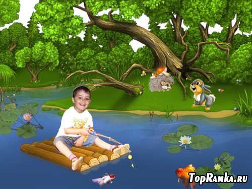 Шаблон детский На рыбалке