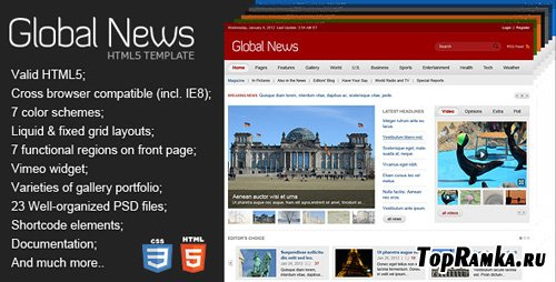 ThemeForest - Global News Portal - HTML5 & CSS3 Template - RIP