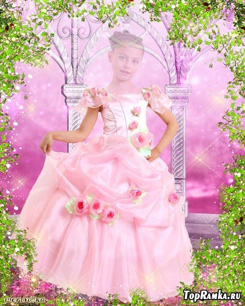 Детский многослойный psd шаблон для девочки - В розовом платье с чудесными розочками
