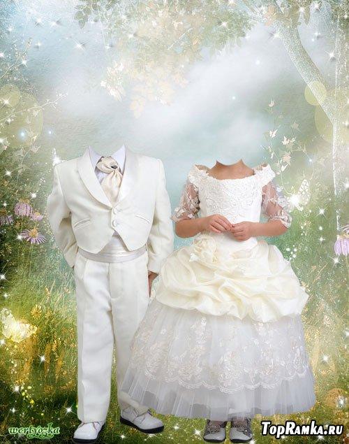 Многослойный парный детский шаблон - Мальчик и девочка в волшебной сказке
