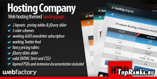 ThemeForest - Hosting Company Landing Page RIP
