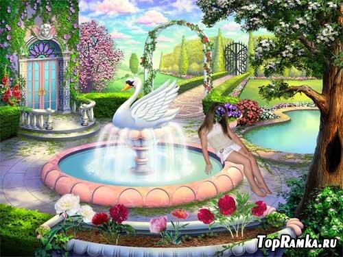Шаблон для детей У фонтана