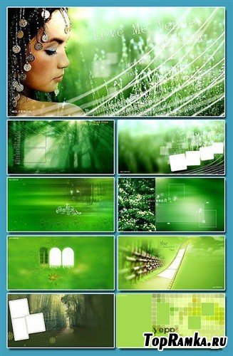 Коллекция креативных многослойных PSD в зеленых тонах