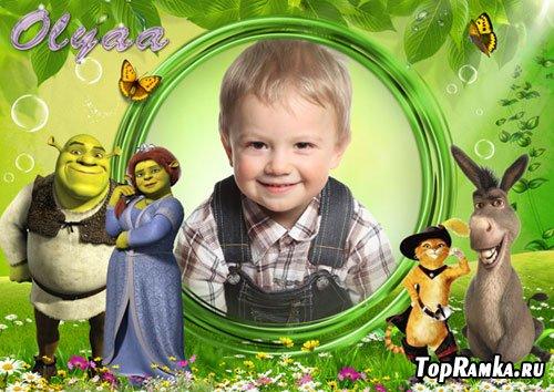 Детская многослойная рамка с героями мультфильма «Шрек»