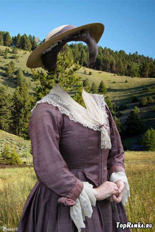 Шаблон для фотомонтажа - дама в шляпе 2