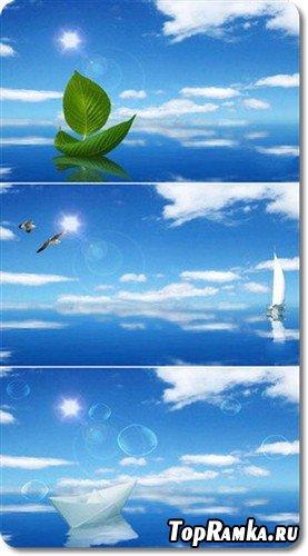 Экологические кораблики - многослойный PSD