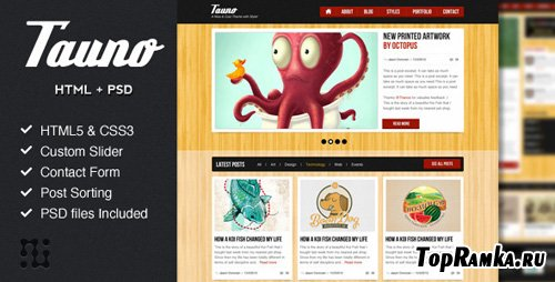 ThemeForest - Tauno - A blog HTML template with style - RiP