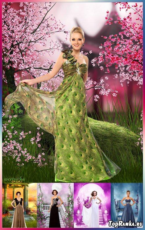 Многослойный женский psd шаблон - Коллекция элегантных и роскошных вечерних нарядов